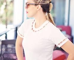 diy pearl cut out tshirt