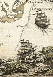 Ancient Chart No Depth Indications Many Sea Serpents