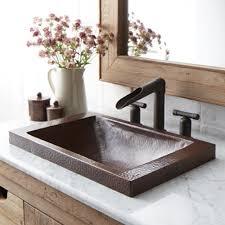 hana 20 drop in rectangular copper bathroom sink