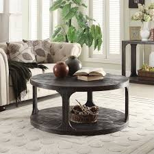 riverside furniture bellagio round coffee table in worn black