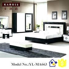 Black Wardrobe Furniture Bed Modern Design With White Bedroom Set ...