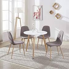 gizza round dining table and 4 chairs with fabric s seat solid fortable white wood top 80 x 75 cm dining chair color choice brown 1