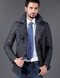 modern long grey luxury wool mens pea coat whole epaulet design turn down collar double ted long