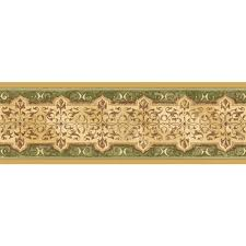 india scrollwork gold and green wallpaper border