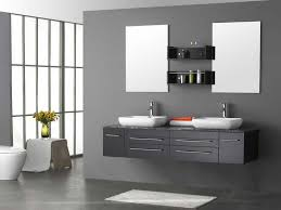 double bowl washbasin floating gray bathroom vanity with wall mirror and shelves in modern grey bathroom design added white bath mat on dark floor ideas
