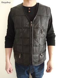 new fashion leather vest mens suit leather waistcoat winter sheepskin vests genuine leather patchwork tops plus size xl xl vests waistcoats