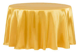 satin 132 round tablecloth bright gold