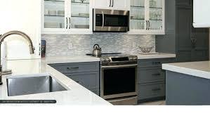 grey subway tile backsplash white cabinets gray grout quartz with modern kitchen images