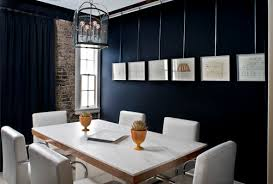 home office dark blue gallery wall. Linear Gallery Wall Home Office Dark Blue