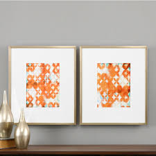 uttermost overlapping teal and orange modern art  set of