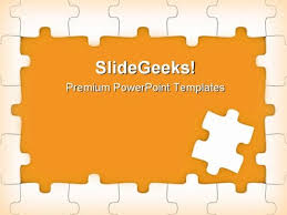Orange Puzzle Frame Business Powerpoint Themes And