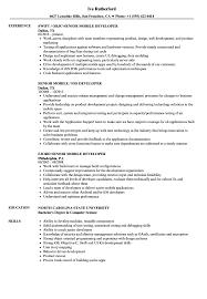 Mobile Developer Resume Mobile Developer Senior Resume Samples Velvet Jobs