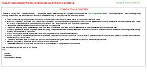 Computer Programmer Trainee Java Work Experience Certificates