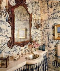 Country French Style Interior Powder Room With Ornate Mirror And French Country Style Wallpaper