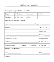 Accident Report Template Word Employee Injury Incident Report Form Template Templates Resume 36