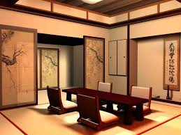 Japanese Living Room Design Beautiful Tree Printed Sliding Doors For Japanese Living Room