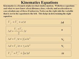 kinematics equations kinematics is a branch of physics that stus motion