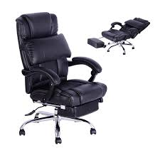 homcom high back office swivel executive leather desk chair recliner reclining napping armchair pc computer chair height adjule co uk office
