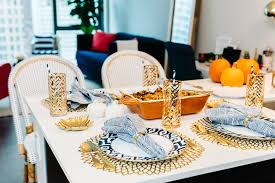 Blue And Gold Table Setting Thanksgiving Table Set Up Place Settings Gold Blue Orange Bows