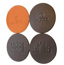 embossed debossed personalised real leather coasters