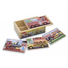 melissa doug vehicles 4 in 1 wooden jigsaw puzzles in a storage box 48 pcs
