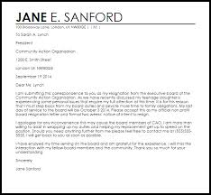 Resignation From Board Non Profit Board Resignation Letter Example Letter Samples