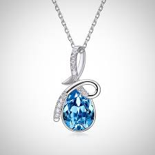 blue crystal teardrop pendant necklace