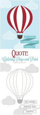 Hot Air Balloon Print And Coloring Page Bapteme Montgolfiere