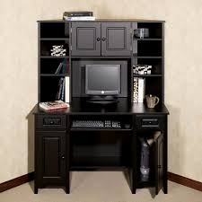 glossy black computer desk with hutch and drawers plus cabinets outstanding desk with hutch and
