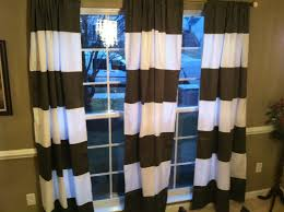 black and white horizontal striped curtains with grey wall and side table for beautiful home decoration