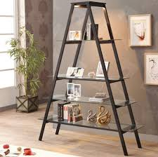adorable a shaped modern ladder bookshelf idea with glass slots and gray  painted wall and wall