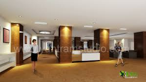 office lobby interior design. 3D Interior Design Rendering For Commercial Office Reception Lobby
