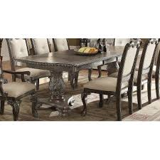 washed gray ornate double pedestal dining table kiera collection