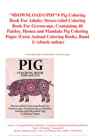 Download At Pdf Pig Coloring Book For Adults Stress Relief Coloring