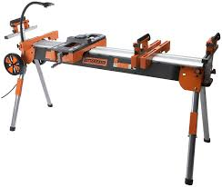 ridgid miter saw table. folding miter saw power tool stand with wheels, light, vise and 4-outlet 110v strip pro portamate pm-7000. heavy duty contractor grade quick ridgid table a