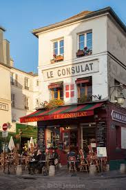 Outdoor seating at le consulat cafe along rue norvins in montmartre paris our image licences