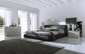 modern black and white furniture. Bedroom:Large Black White Bedroom Design With Modern Laminated Leather Bed And Wood Furniture B