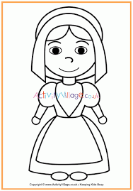 Pilgrim Girl Colouring Page Thanksgiving Colouring Pages For Kids