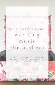 Blank Wedding Planning Checklist Ultimate Wedding Music Checklist Planner Tied With A Bow Weddings