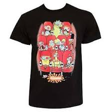 Details About Nickelodeon 90s Nicktoon Movie Theater Tee Shirt Black