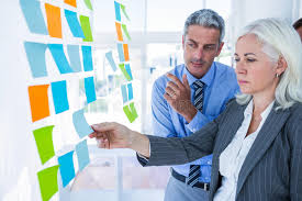 post business office. Download Business People Looking At Post It On The Wall Stock Photo - Image Of Suit Office T