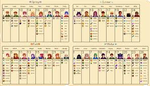 Stardew Valley Chart I Made This Chart To Help While Going For All 10 Heart