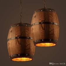 retro loft wood cask pendant lamp restaurant warehouse dining room wine cellar aisle corridor pub cafe chandelier barrel light track lighting pendants