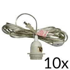 bulk pack 10 single socket pendant light cord kits for lanterns 15ft ul listed clear
