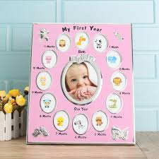 details of first year baby photo frame silver plated 12 months christening gift set newborn
