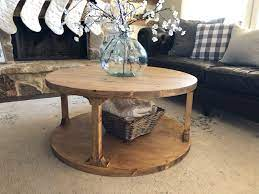 Round wooden coffee table with metal braced cross legs perhaps you're actually convinced that making a rounded wooden. Diy Round Coffee Table Shanty 2 Chic