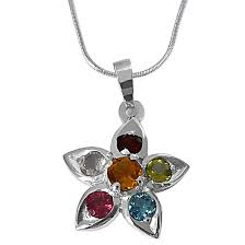 beautiful star shaped precious gemstones set in 925 sterling silver pendant with 18 in chain