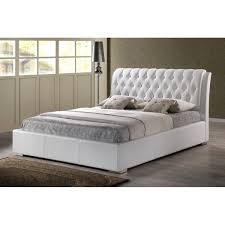 bianca white modern bed with tufted headboard  full size  see white