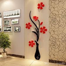 wall stickers acrylic 3d plum flower vase stickers vinyl art diy for red wall decal decorating  on wall decal vinyl art stickers decor with wall stickers acrylic 3d plum flower vase stickers vinyl art diy for