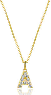 details about yellow gold plated sterling silver cz initial a letter pendant necklace 18 inch